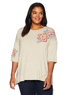 Democracy Women's Plus Size 3/4 SLV Scoop Neck Screen TEE