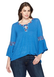 Democracy Women's Plus Size 3/s Sleeve Top with Cleo Neck and Embroidery