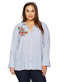 Democracy Women's Plus Size Button Down High Cuff L/s Pinstripe Shirt W Emb