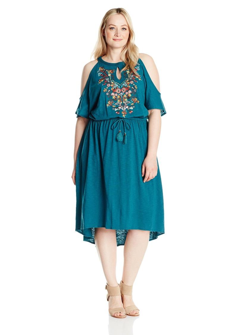 Women\'s Plus Size Cold Shoulder S/s Drawstring High Low Dress