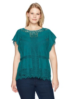 Democracy Women's Plus Size Crochet Top with Flutter SLV and Tank