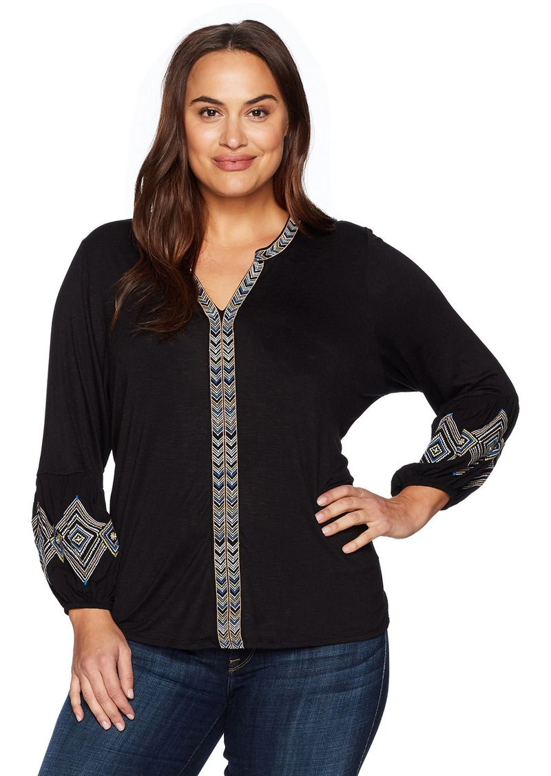 Democracy Women's Plus Size Emb Plkt and Blouson Slv Knit To Woven Top