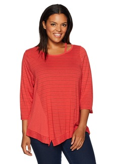 Democracy Women's Plus Size Knit Spliced Cut Out Neck Asymmetric Hem Top
