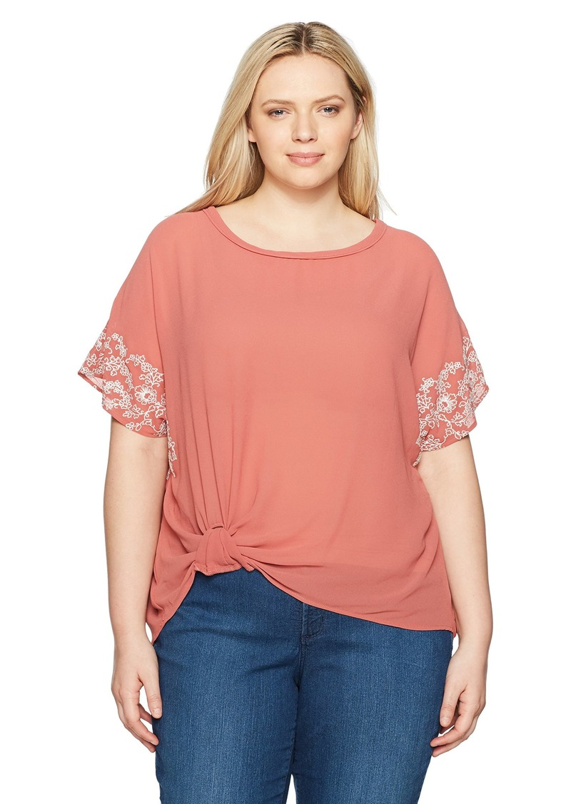 Democracy Women's Plus Size Knot Front Emb. S/s Woven Tee