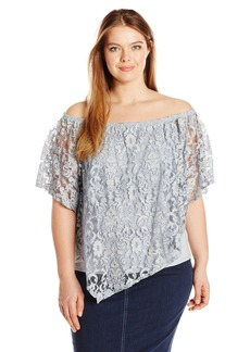 Democracy Women's Plus Size Lace Scarf Top with Built in Tank