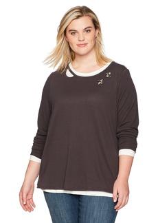Democracy Women's Plus Size Long Sleeve 2fer Sweater