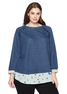 Democracy Women's Plus Size Long Sleeve 2fer with Lace up