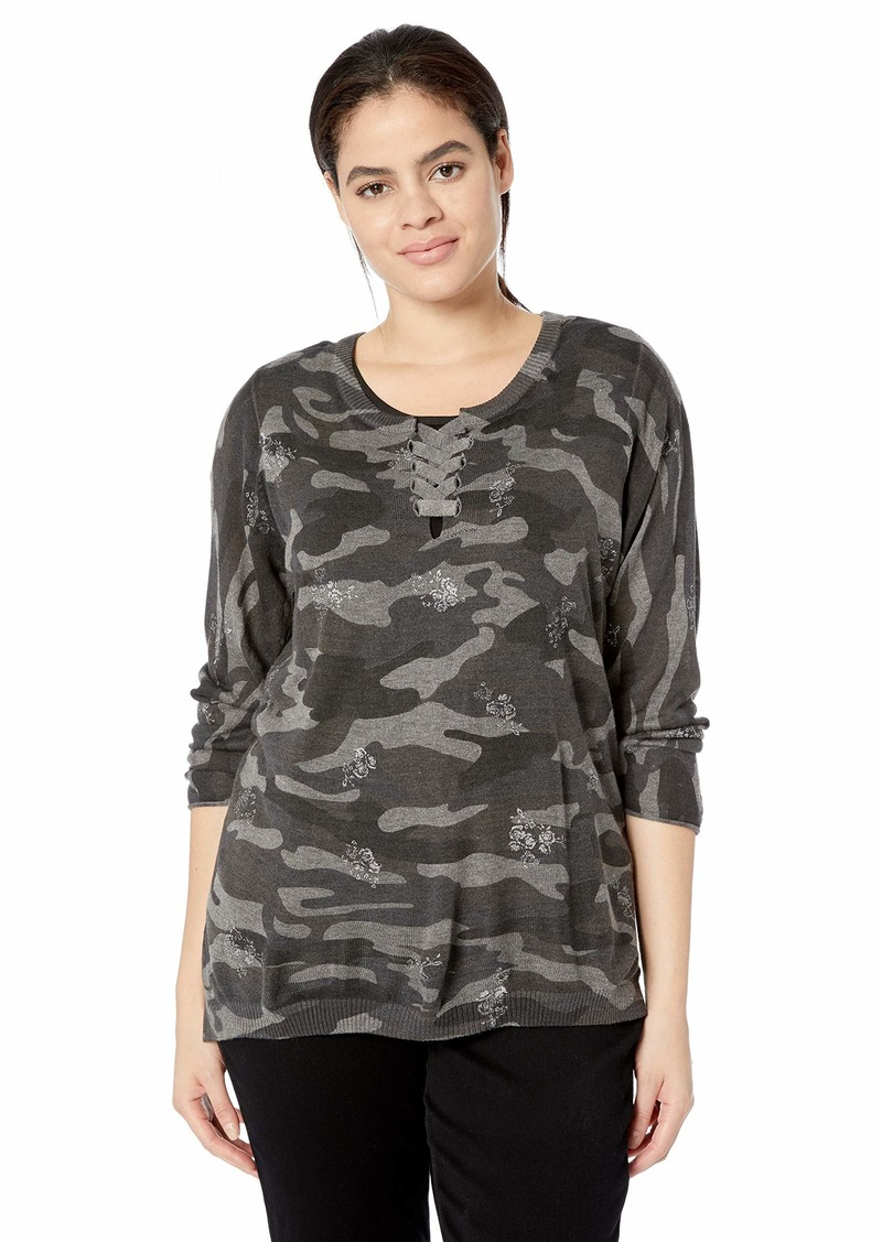 Democracy Women's Plus Size Long Sleeve CAMO HI LO Sweater