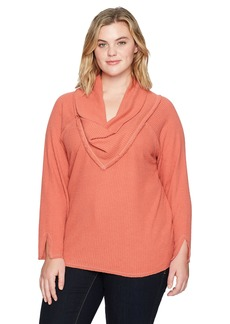 Democracy Women's Plus Size Long Sleeve Cowl Neckline Top