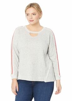 Democracy Women's Plus Size Long Sleeve Crochet Detail Sweatshirt