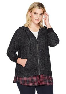 Democracy Women's Plus Size L/s Hoodie Zip Front 2-Fer