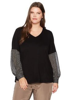Democracy Women's Plus Size Mixed Media Blouson Top