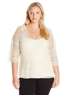 Democracy Women's Plus Size Novelty Crochet V-Neck with Knit Tank