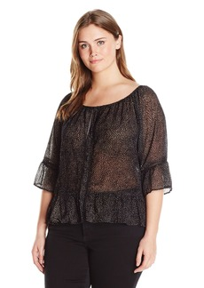 Democracy Women's Plus Size Shoulder Flounce SLV Top