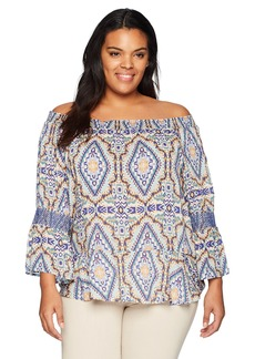 Democracy Women's Plus-Size Off The Shoulder Top with Smocked Elbow