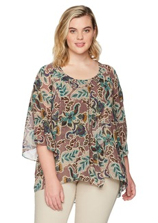 Democracy Women's Plus Size Printed Bell Sleeve Asymmetrical Blouse