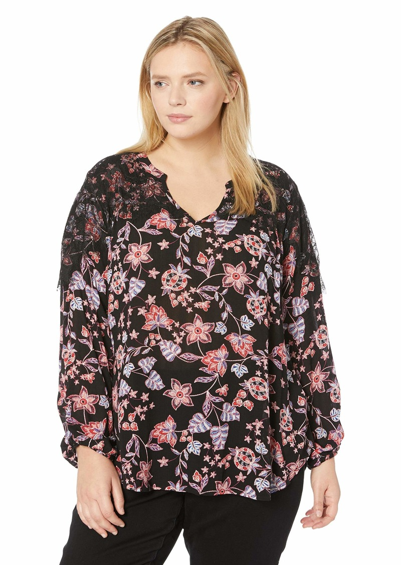 Democracy Women's Plus Size Ruched Long Sleeve V Neck TOP with Contrast LACE