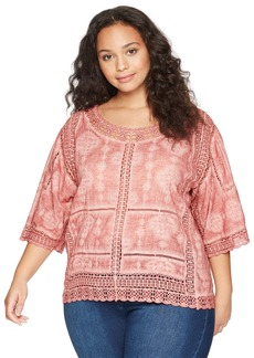 Democracy Women's Plus Size Scallop Edge Crochet Top