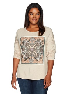 Democracy Women's Plus Size Screen Front Drop Shoulder L/s Hi-lo Tee