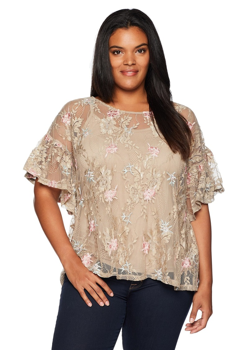 Democracy Women's Plus-Size Short Flounce Sleeve Top with Drop Waist