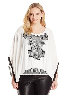 Democracy Women's Plus-Size Smocked Peasant Blouse with Embroidered Detail