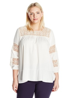 Democracy Women's Plus Size Square Neck Crochet Trim Insert 3/4 Blouson SLV Flounce Top