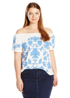 Democracy Women's Plus Size S/s Side Ruched Top with Neckline DTL