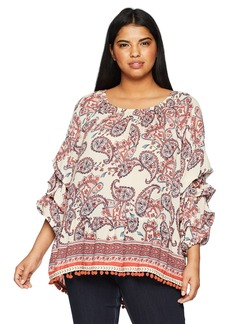 Democracy Women's Plus Size Triple Tuck SLV Top