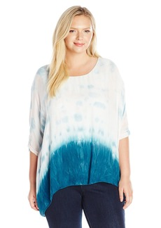 Democracy Women's Plus Size Two-Fer Tie Dye Woven Square Top with Knit Tank Lining