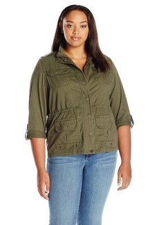 Democracy Women's Plus Size Utility Jacket with Drawstring Waist and Embroidered Epilets and Sleeve Tabs