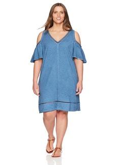 Democracy Women's Plus Size Vneck Cold Shoulder Dress  2X