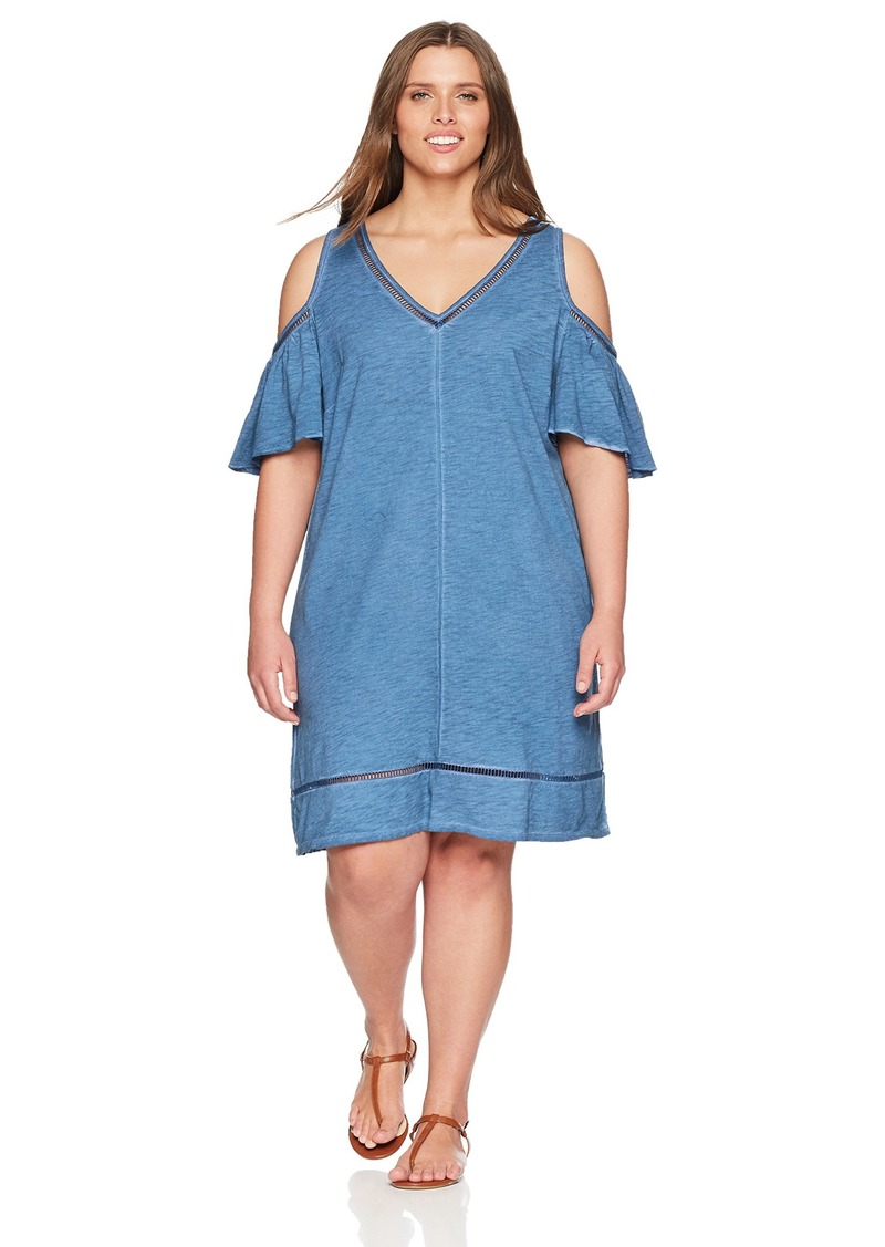 Democracy Women's Plus Size Vneck Cold Shoulder Dress  3X