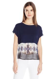 Democracy Women's Print to Knit Spliced Tee with Tie Back  XS