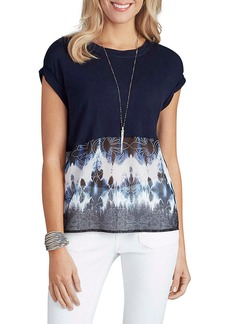 Democracy Women's Print to Knit Spliced Tee with Tie Back  XS