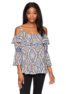 Democracy Women's Printed Cold Shoulder Top Smocked Sleeve  S