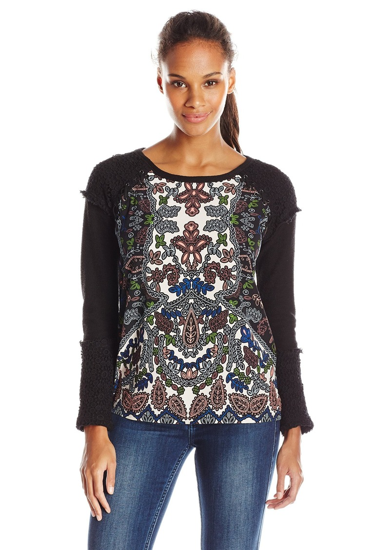 Democracy Women's Printed Front Sweatshirt with Croched and Lace Up Trim