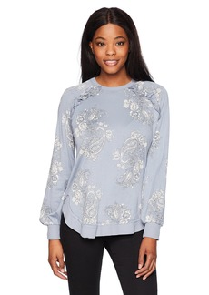 Democracy Women's Printed Sweatshirt with Ruffle Detail  XS