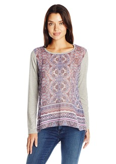 Democracy Women's Printed Woven Top with Knit Sleeves