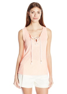 Democracy Women's Rib Knit Tank with Grommets and Lace up Detail