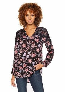Democracy Women's Ruched Long Sleeve V Neck TOP with Contrast LACE  XS
