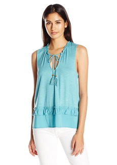 Democracy Women's Ruffle Neck Tie Front High Low Flounce Tank  M