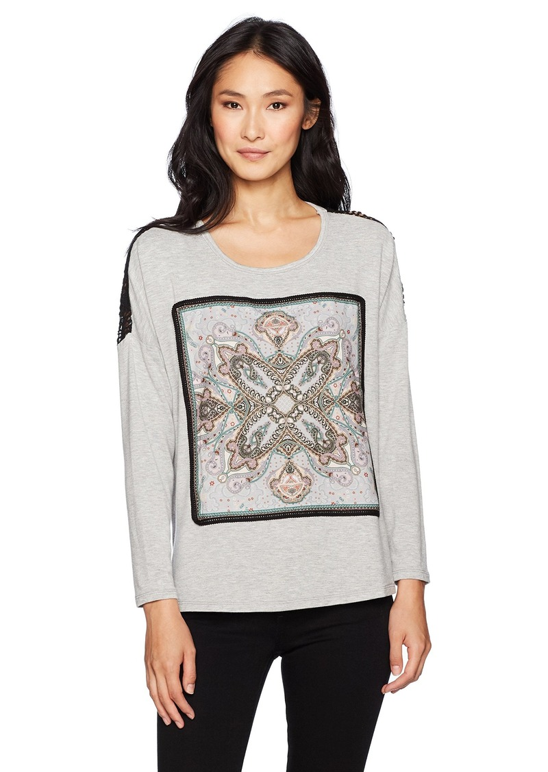 Democracy Women's Screen Front Drop Shoulder L/s Hi-lo Tee  L