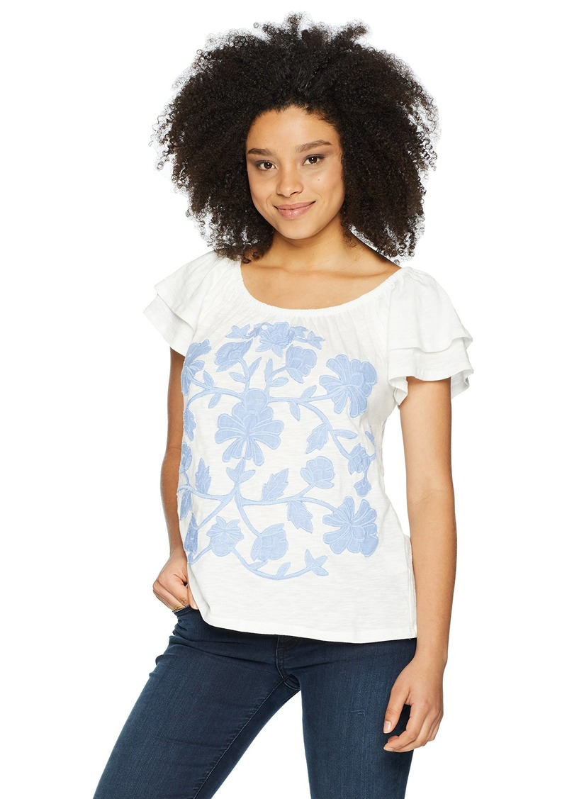 Democracy Women's Short Double Ruffle SLV TEE with Embroidery  XL