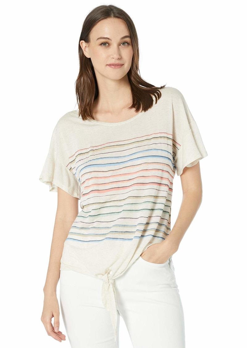 Democracy Women's Short Ruffle Sleeve Tee with Rainbow Stripe  XS