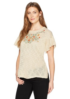 Democracy Women's Short Ruffle Slv Embroidered Sweater  L