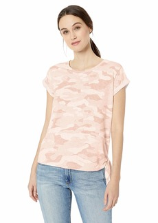 Democracy Women's Short Sleeve Roll Cuff Tee w Side Tie  XS