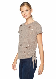 Democracy Women's Short Sleeve Screen Tee with Side Knot  L
