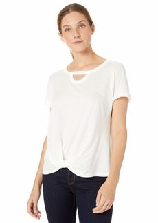 Democracy Women's Short Sleeve Tee with Cut Out Neck and Side Twist Off  XL