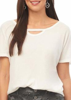 Democracy Women's Short Sleeve Tee with Cut Out Neck and Side Twist  XL