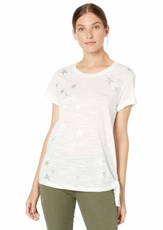 Democracy Women's Short Sleeve Tee with Star Graphic and Side Knot Off  M